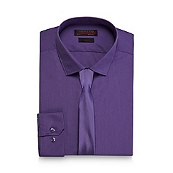 Red Herring - Big and tall purple slim fit shirt and tie
