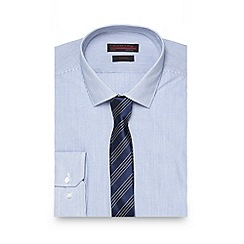 Red Herring - Blue fine striped slim shirt with tie