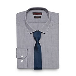 Red Herring - Grey mini dogtooth slim shirt with tie