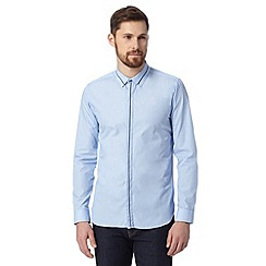 St George by Duffer - Light blue fine stripe shirt