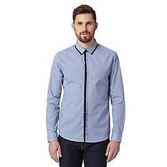 St George by Duffer - Blue gingham double placket shirt