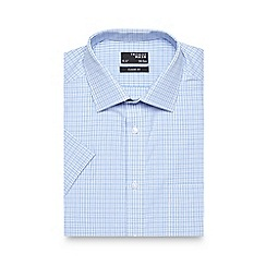 Thomas Nash - Blue checked cotton short sleeved shirt