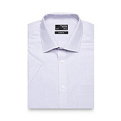 Thomas Nash - Purple striped classic fit short sleeved shirt