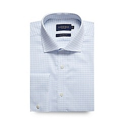 Osborne - Big and tall light blue herringbone grid checked regular shirt