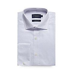 Osborne - Lilac herringbone grid checked regular shirt