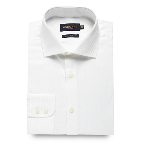 Osborne - White satin self stripe shirt
