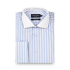 Osborne - Big and tall light blue bold striped regular shirt