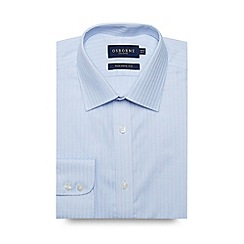 Osborne - Blue textured stripe extra long tailored shirt
