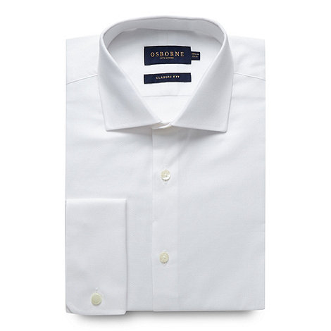 Osborne - Big and tall white regular fit plain oxford shirt