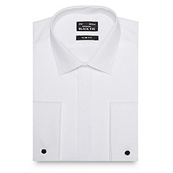 Black Tie - White narrow pleated slim shirt