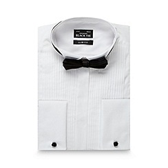 Black Tie - Big and tall white pleated slim fit shirt with bow tie