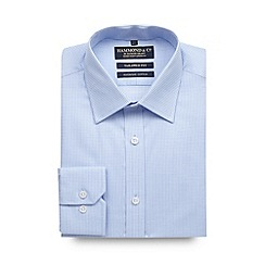 Hammond & Co. by Patrick Grant - Big and tall designer light blue gingham tailored shirt