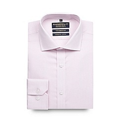 Hammond & Co. by Patrick Grant - Big and tall designer pink tailored fit textured stripe shirt