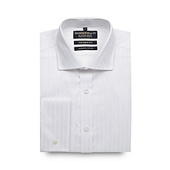 Hammond & Co. by Patrick Grant - Big and tall designer white self striped shirt