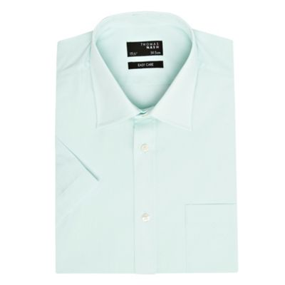 Light Green Plain Poplin Short Sleeved Shirt