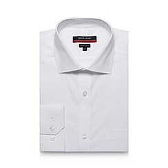 Pierre Cardin - Big and tall white twill striped tailored shirt