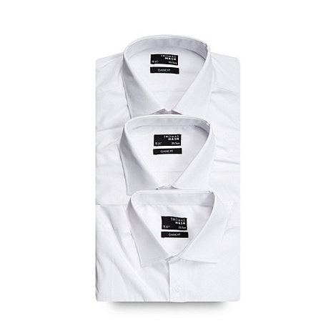 Thomas Nash - Pack of three white easy car classic fit shirts