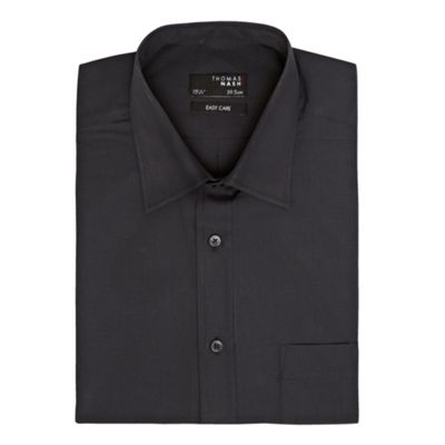 Black Plain Poplin Short Sleeved Shirt