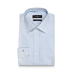 Jeff Banks - Big and tall designer light blue textured stripe tailored shirt