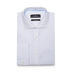 Jeff Banks - Big and tall designer blue twill striped moisture wicking tailored shirt