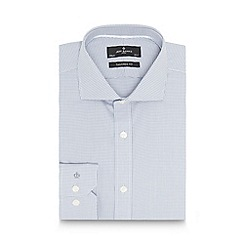 Jeff Banks - Big and tall designer grey dogtooth cotton tailored shirt