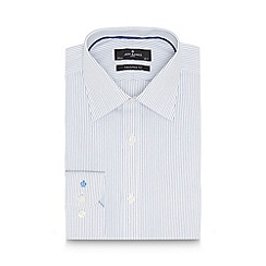 Jeff Banks - Big and tall designer white striped cotton tailored shirt