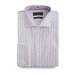 Jeff Banks - Big and tall designer lilac triple stripe tailored shirt