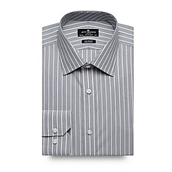 Jeff Banks - Big and tall designer grey bold striped tailored shirt
