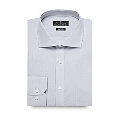 Jeff Banks - Big and tall designer grey grid checked regular shirt