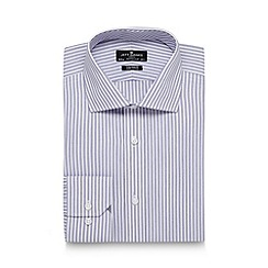 Jeff Banks - Big and tall designer lilac textured stripe tailored shirt
