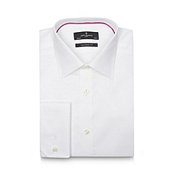 Jeff Banks - Big and tall designer white fine herringbone striped extra long tailored shirt