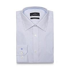 Jeff Banks - Designer light blue textured stripe extra long tailored shirt