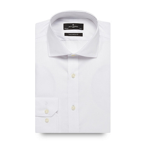 Jeff Banks - Big and tall white tailored fit tailored fit fine twill long sleeved shirt