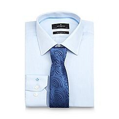 Jeff Banks - Big and tall designer light blue herringbone tailored fit shirt and tie
