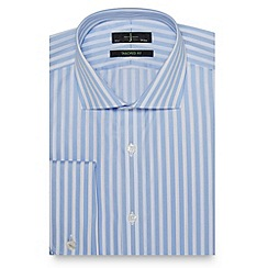 J by Jasper Conran - Big and tall designer light blue butchers stripe tailored shirt