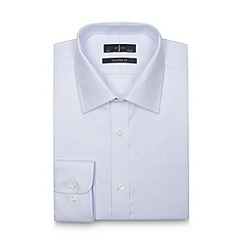 J by Jasper Conran - Designer blue zig zag textured extra long tailored shirt