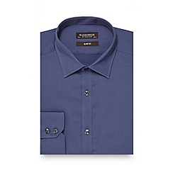 St George by Duffer - Big and tall dark blue slim fit cotton shirt