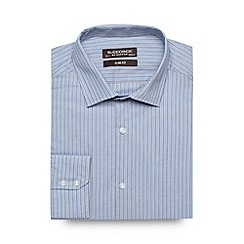 St George by Duffer - Big and tall grey multi striped slim fit shirt