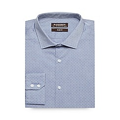 St George by Duffer - Blue textured spot slim fit shirt