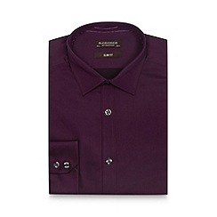 St George by Duffer - Purple extra long slim sateen shirt