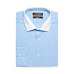 St George by Duffer - Big and tall blue pure cotton slim fit shirt