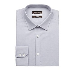 St George by Duffer - Big and tall grey birdseye cotton slim fit shirt