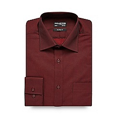 The Collection - Big and tall dark red tonic tailored shirt