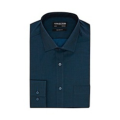 The Collection - Big and tall dark turquoise plain tonic tailored shirt