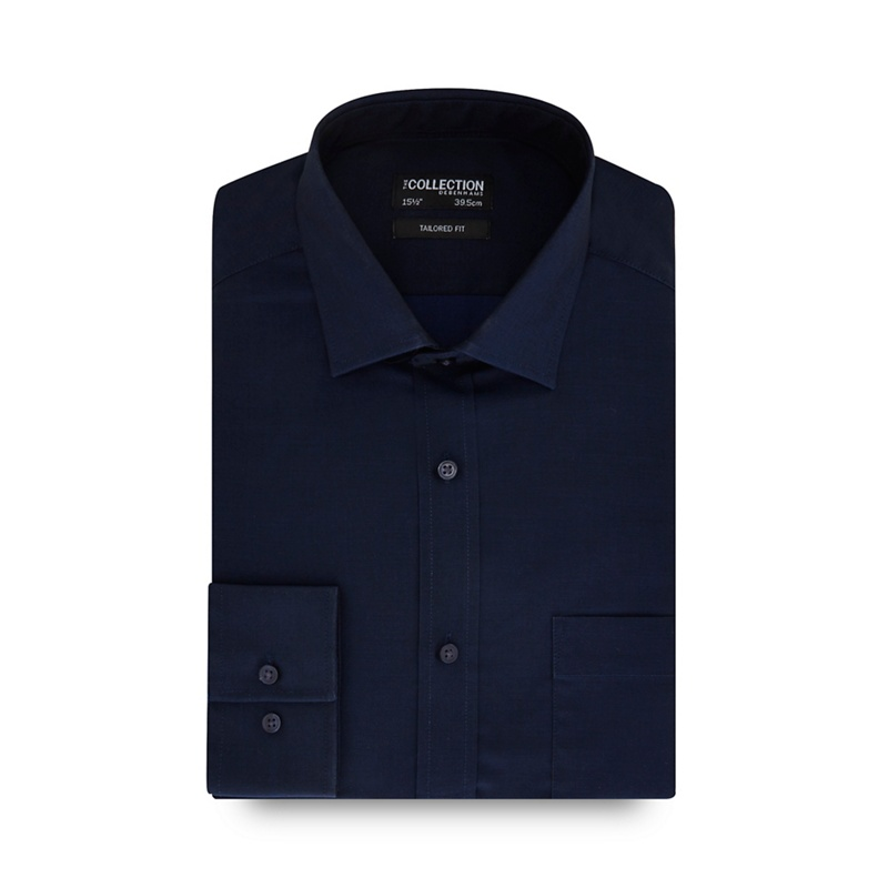 The Collection Navy plain tonic tailored shirt