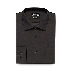 The Collection - Big and tall dark grey plain tonic tailored shirt