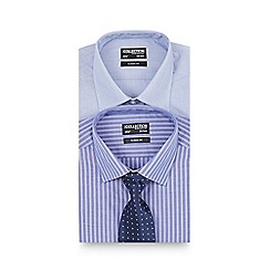 The Collection - Big and tall pack of two blue striped regular fit shirts
