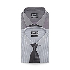 The Collection - Big and tall pack of two grey tailored fit shirts