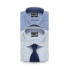 The Collection - Big and tall pack of two blue checked and striped regular shirts with tie