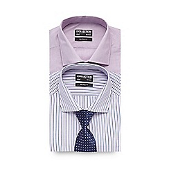 The Collection - Big and tall pack of two white and pink striped tailored shirts with tie